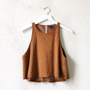 Iris | Burnt Brown Faux Suede Crop Tank Top M